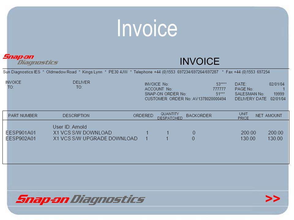>> Invoice Sun Diagnostics IES * Oldmedow Road * Kings Lynn * PE30 4JW * Telephone +44 (0)1553 697234/697264/697287 * Fax +44 (0)1553 697254 INVOICE P