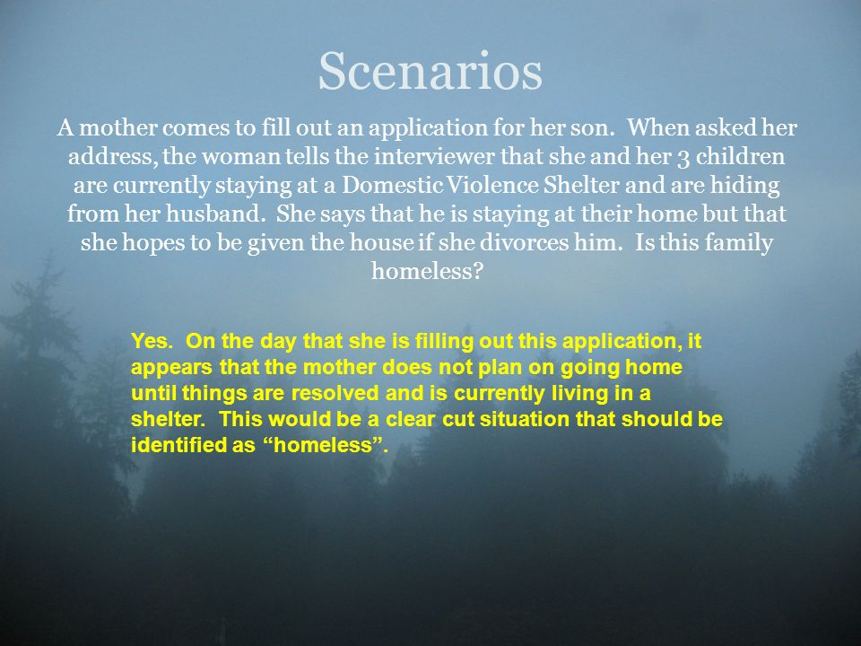 Scenarios A mother comes to fill out an application for her son. When asked her address, the woman tells the interviewer that she and her 3 children a