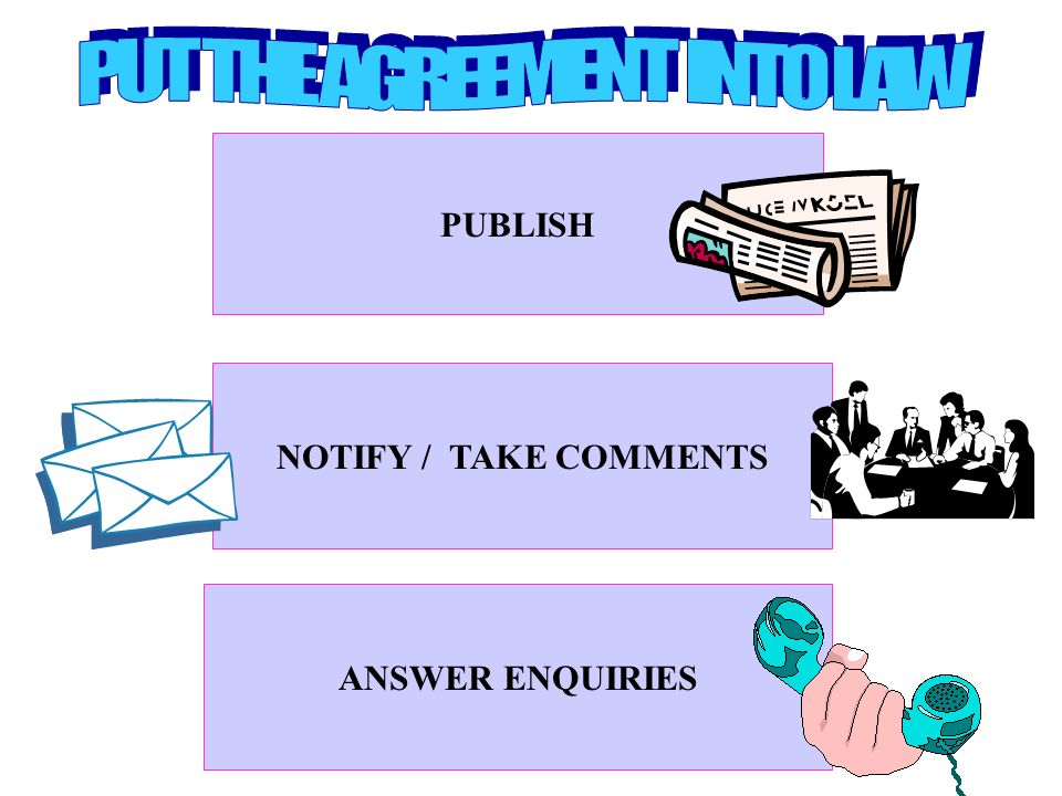 PUBLISH NOTIFY / TAKE COMMENTS ANSWER ENQUIRIES