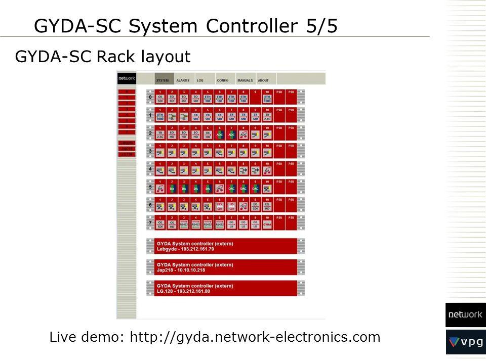 GYDA-SC Rack layout GYDA-SC System Controller 5/5 Live demo: http://gyda.network-electronics.com