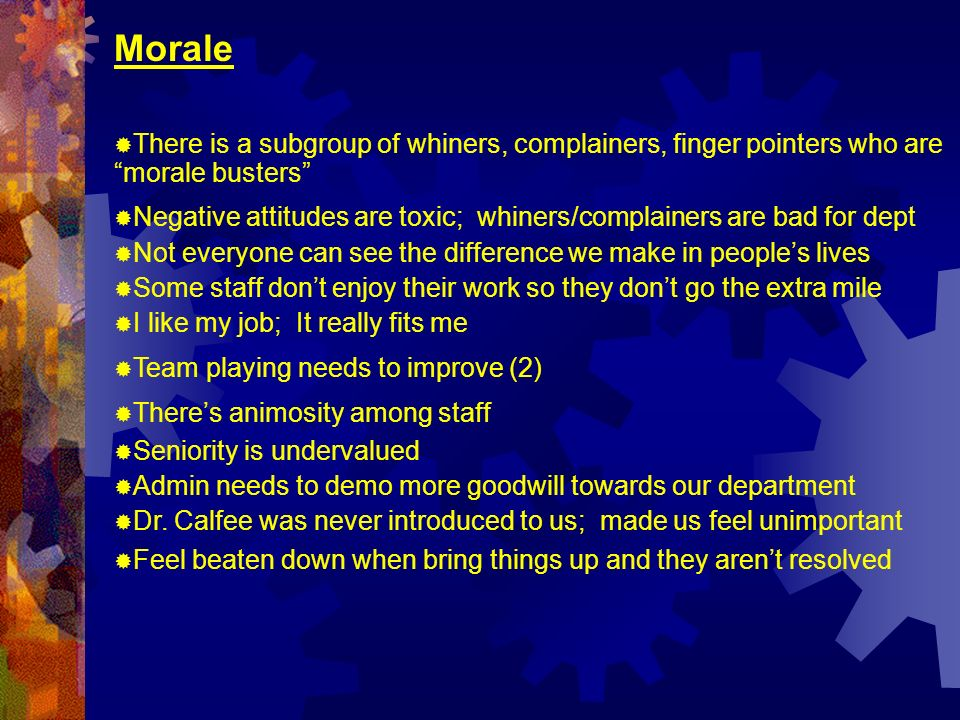 Morale There is a subgroup of whiners, complainers, finger pointers who are morale busters Negative attitudes are toxic; whiners/complainers are bad for dept Not everyone can see the difference we make in peoples lives Some staff dont enjoy their work so they dont go the extra mile I like my job; It really fits me Team playing needs to improve (2) Theres animosity among staff Seniority is undervalued Admin needs to demo more goodwill towards our department Dr.