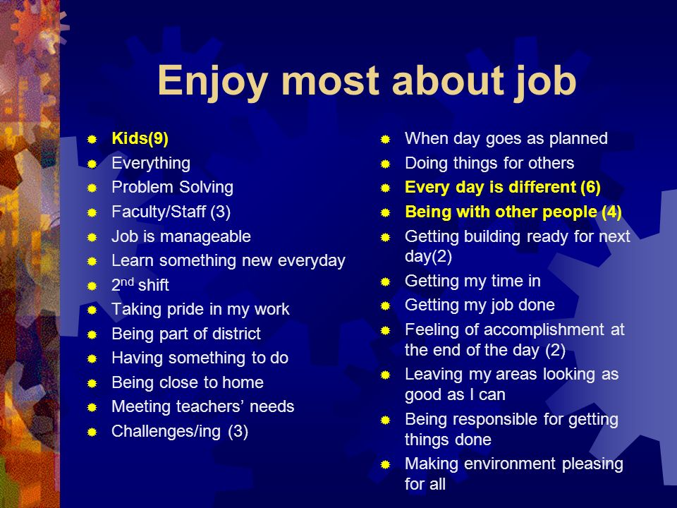 Enjoy most about job Kids(9) Everything Problem Solving Faculty/Staff (3) Job is manageable Learn something new everyday 2 nd shift Taking pride in my work Being part of district Having something to do Being close to home Meeting teachers needs Challenges/ing (3) When day goes as planned Doing things for others Every day is different (6) Being with other people (4) Getting building ready for next day(2) Getting my time in Getting my job done Feeling of accomplishment at the end of the day (2) Leaving my areas looking as good as I can Being responsible for getting things done Making environment pleasing for all