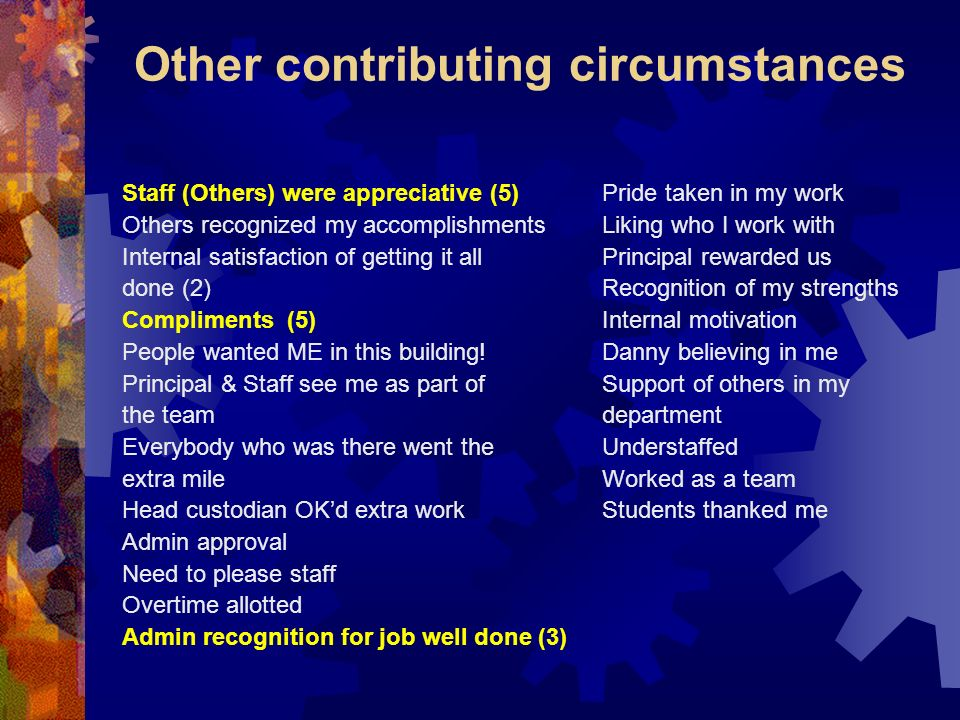 Other contributing circumstances Staff (Others) were appreciative (5)Pride taken in my work Others recognized my accomplishmentsLiking who I work with