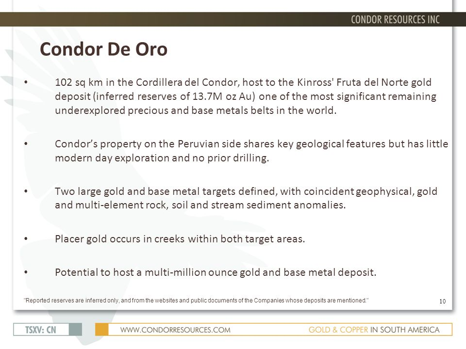 Condor De Oro 102 sq km in the Cordillera del Condor, host to the Kinross Fruta del Norte gold deposit (inferred reserves of 13.7M oz Au) one of the most significant remaining underexplored precious and base metals belts in the world.