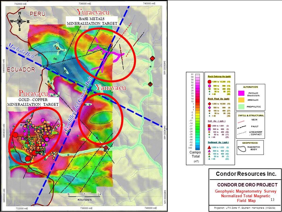 PERU ECUADOR Machala Belt LINEAMENT, CONTACT FAULT VEIN INFILL & STRUCTURAL PHYLLIC Stockwork ARGILLIC PROPYLITIC ALTERATION MAGNETIC BODY GEOPHYSICS Cordillera del Condor Belt Condor Resources Inc.