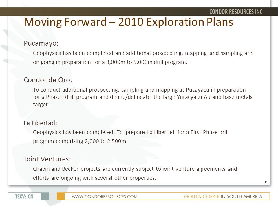 Moving Forward – 2010 Exploration Plans Pucamayo: Geophysics has been completed and additional prospecting, mapping and sampling are on going in preparation for a 3,000m to 5,000m drill program.