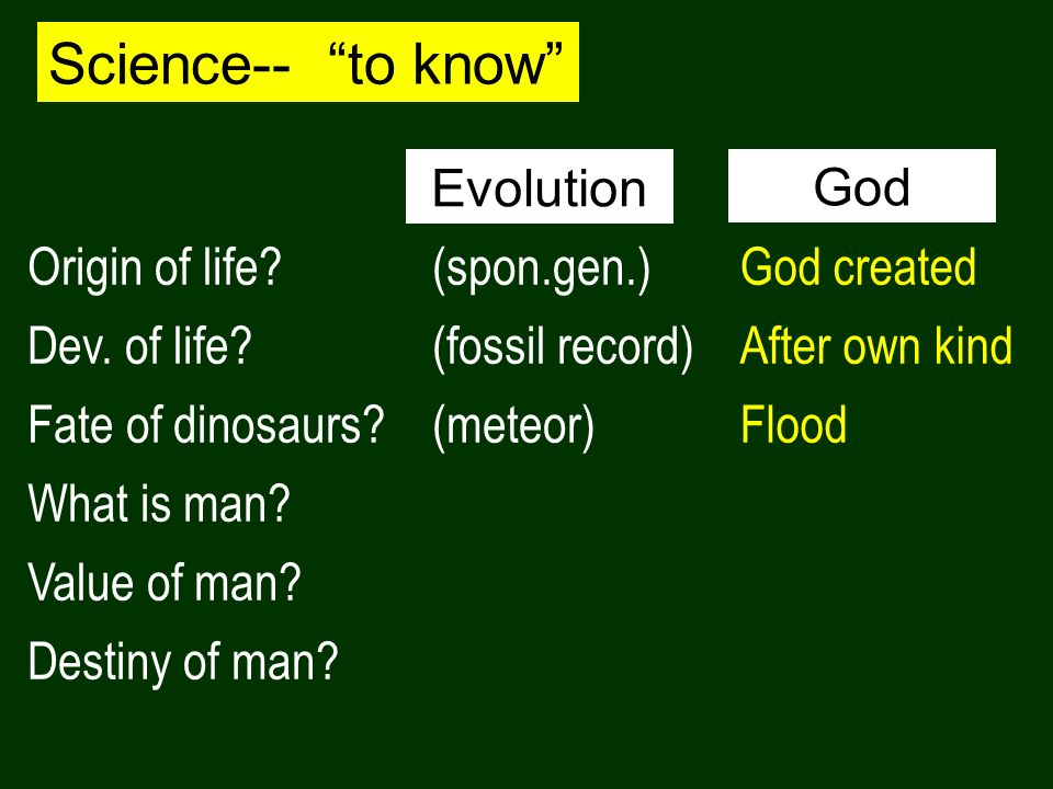 Science-- to know Origin of life? Dev. of life? Fate of dinosaurs? What is man? Value of man? Destiny of man? (spon.gen.) (fossil record) (meteor) God