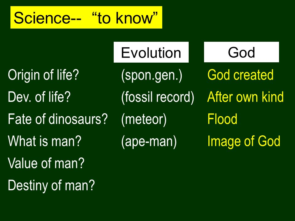 Science-- to know Origin of life? Dev. of life? Fate of dinosaurs? What is man? Value of man? Destiny of man? (spon.gen.) (fossil record) (meteor) (ap