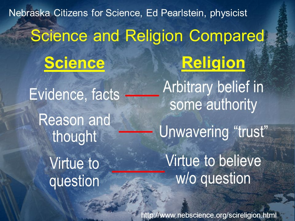 Science Religion Nebraska Citizens for Science, Ed Pearlstein, physicist http://www.nebscience.org/scireligion.html Science and Religion Compared Evid
