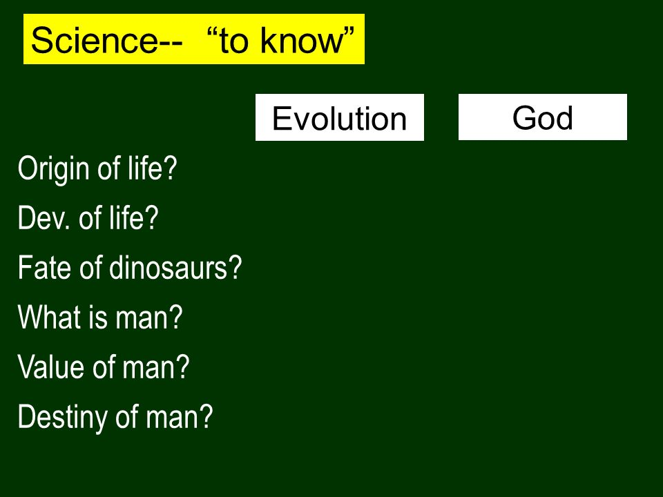 Science-- to know Origin of life? Dev. of life? Fate of dinosaurs? What is man? Value of man? Destiny of man? Evolution God