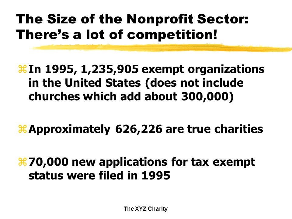 The XYZ Charity The Size of the Nonprofit Sector: Theres a lot of competition.