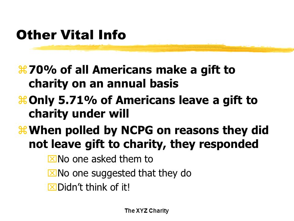 The XYZ Charity Other Vital Info z70% of all Americans make a gift to charity on an annual basis zOnly 5.71% of Americans leave a gift to charity under will zWhen polled by NCPG on reasons they did not leave gift to charity, they responded xNo one asked them to xNo one suggested that they do xDidnt think of it!