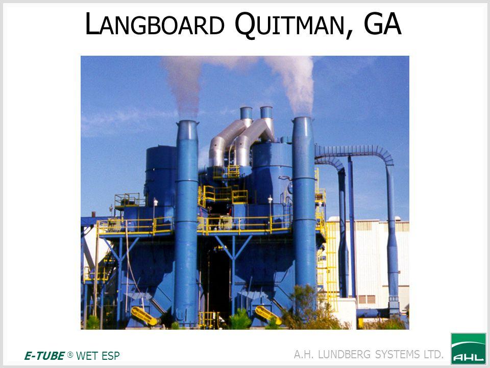 A.H. LUNDBERG SYSTEMS LTD. L ANGBOARD Q UITMAN, GA E-TUBE ® WET ESP