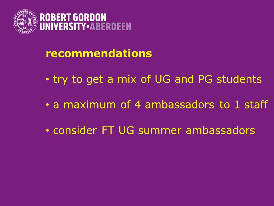 recommendations try to get a mix of UG and PG students a maximum of 4 ambassadors to 1 staff consider FT UG summer ambassadors