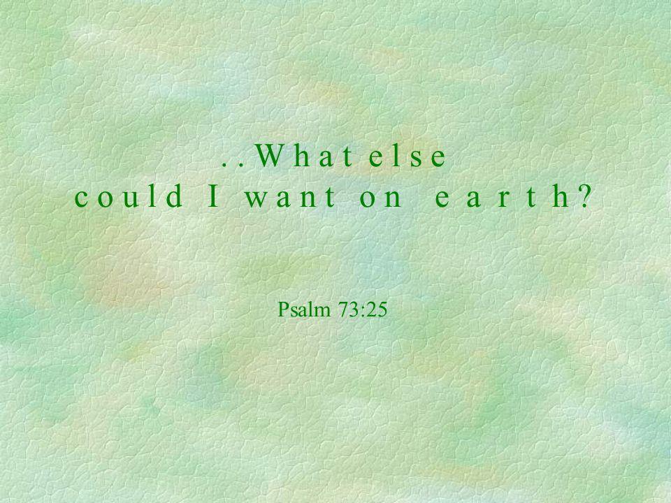 .. W h a t e l s e c o u l d I w a n t o n e a r t h ? Psalm 73:25