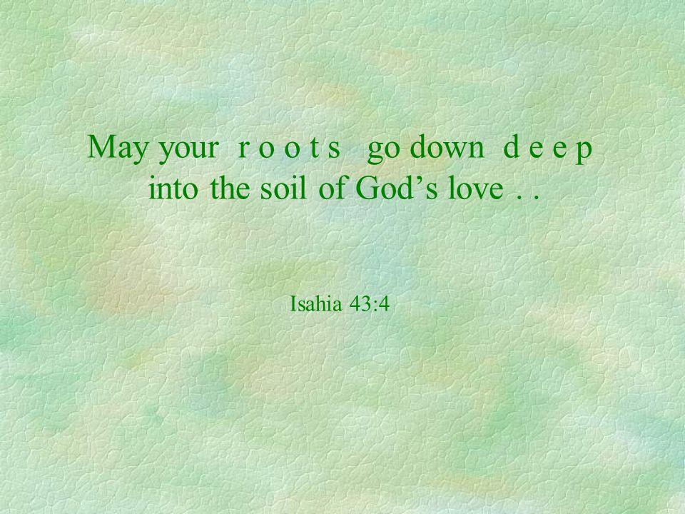 May your r o o t s go down d e e p into the soil of Gods love.. Isahia 43:4