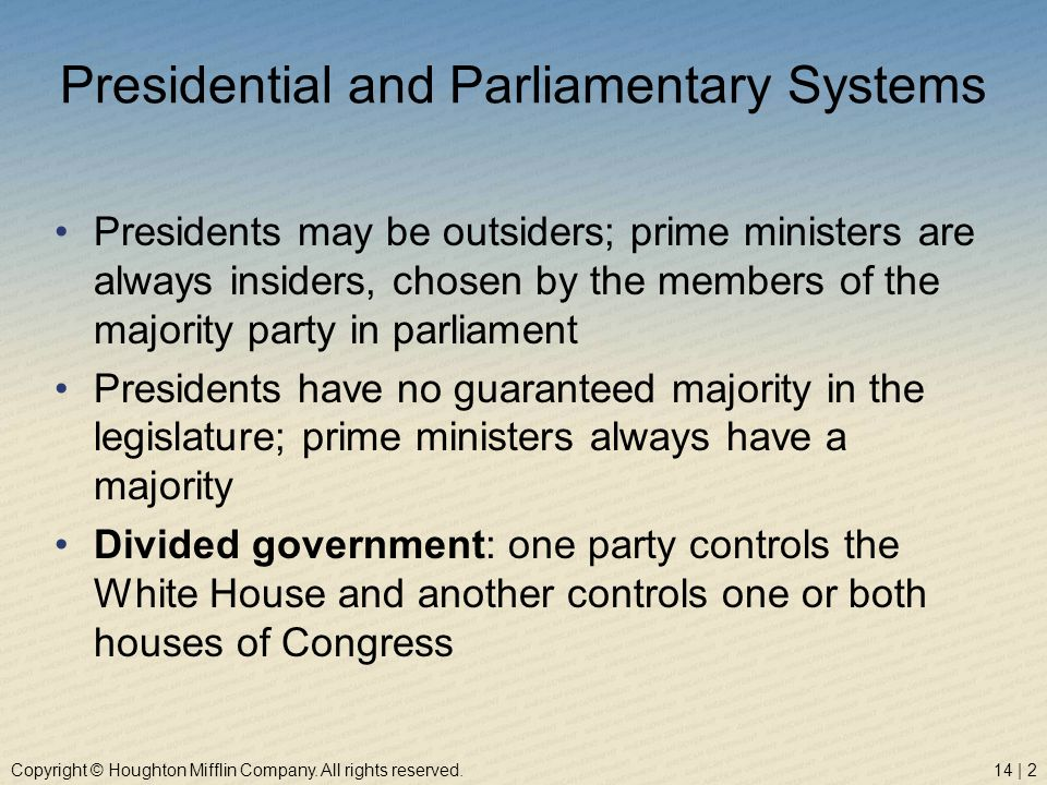 Copyright © Houghton Mifflin Company. All rights reserved.14 | 2 Presidential and Parliamentary Systems Presidents may be outsiders; prime ministers a