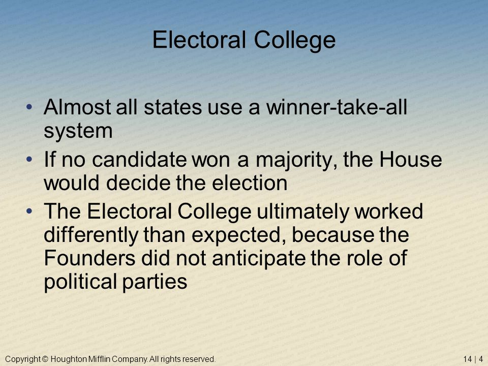 Copyright © Houghton Mifflin Company. All rights reserved.14 | 4 Electoral College Almost all states use a winner-take-all system If no candidate won