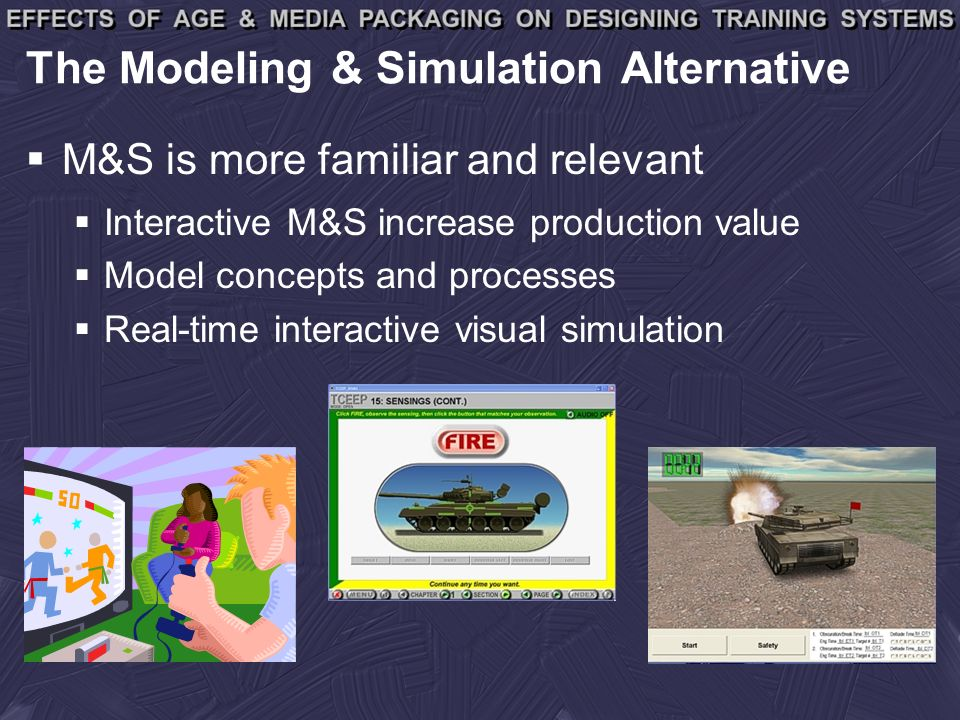 The Modeling & Simulation Alternative M&S is more familiar and relevant Interactive M&S increase production value Model concepts and processes Real-time interactive visual simulation