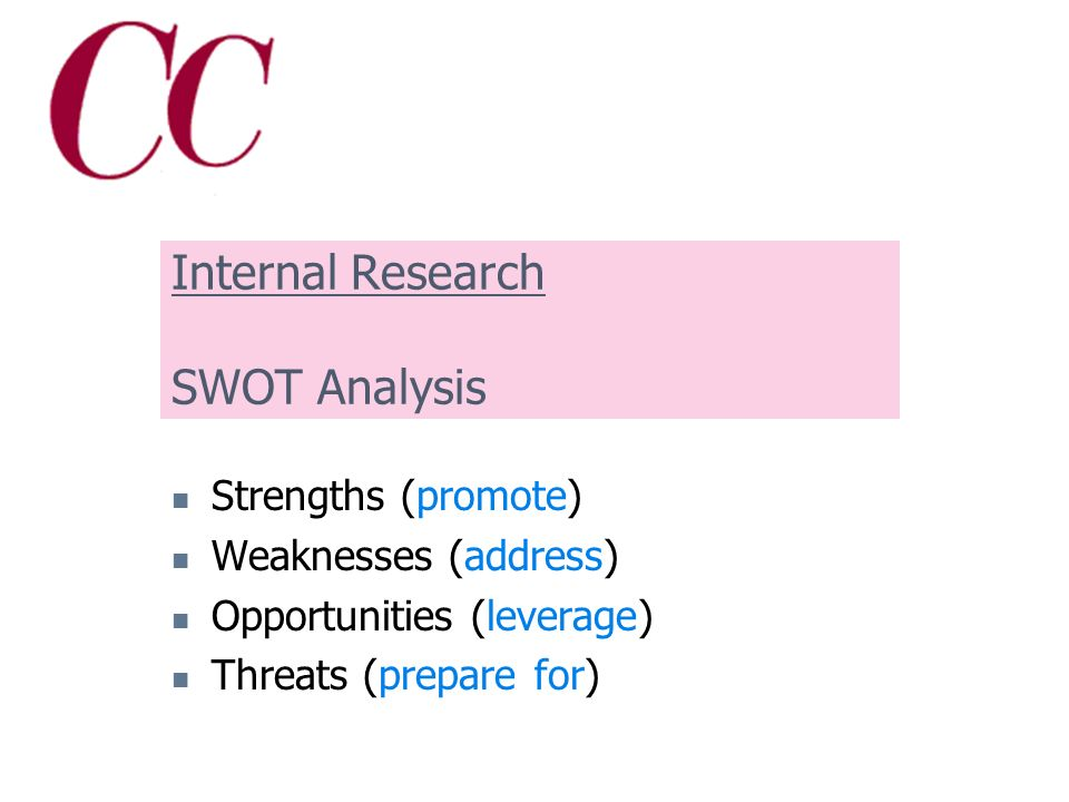 Define your brand by: Internal consensus (SWOT analysis) External input (what do your audiences want to know?) Creating a messaging package to keep everyone on message