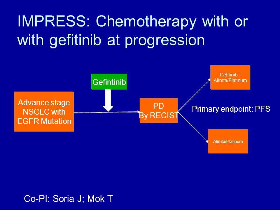 IMPRESS: Chemotherapy with or with gefitinib at progression Advance stage NSCLC with EGFR Mutation Gefintinib PD By RECIST Gefitinib + Alimta/Platinum