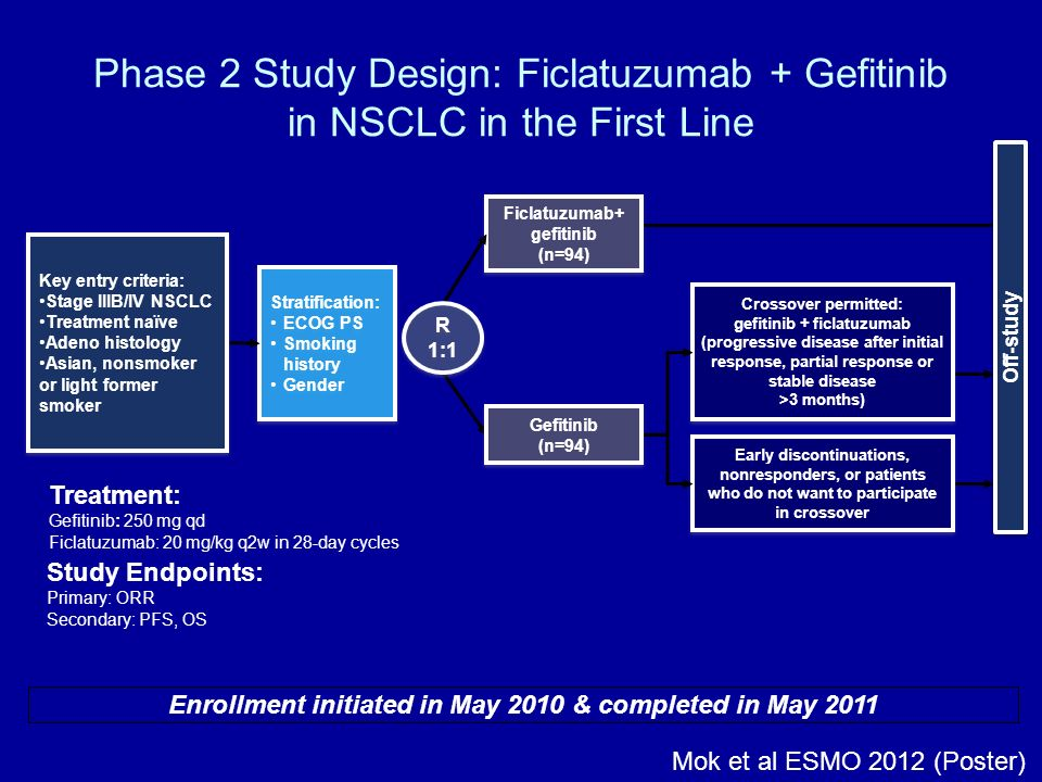 Phase 2 Study Design: Ficlatuzumab + Gefitinib in NSCLC in the First Line Stratification: ECOG PS Smoking history Gender Stratification: ECOG PS Smoki