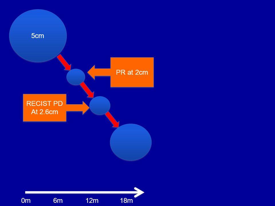 5cm PR at 2cm RECIST PD At 2.6cm RECIST PD At 2.6cm 6m0m12m18m