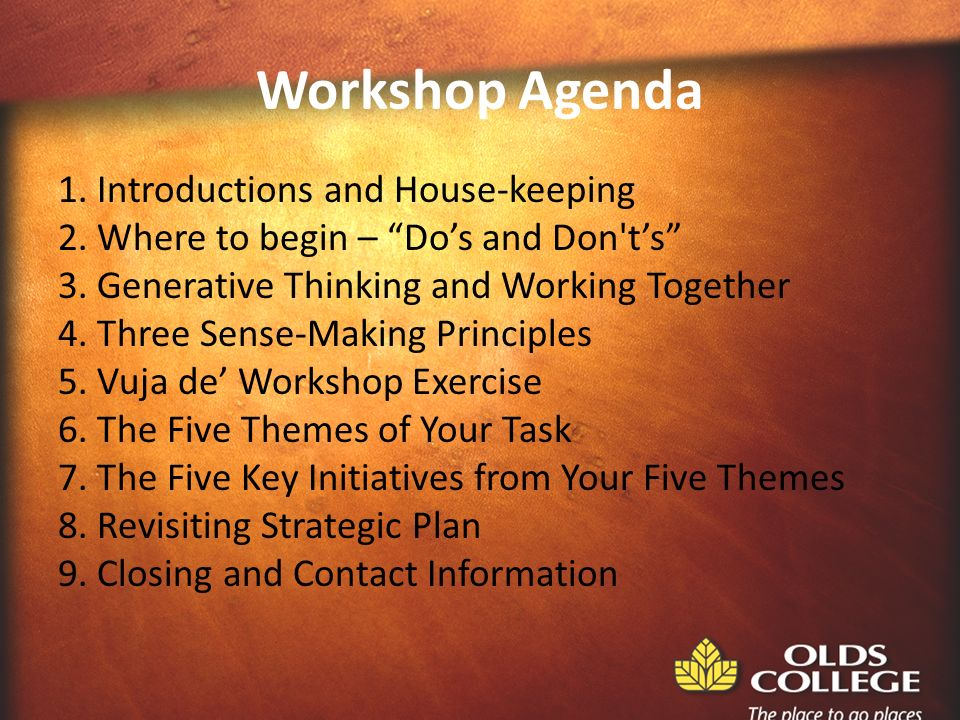 Workshop Agenda 1. Introductions and House-keeping 2.