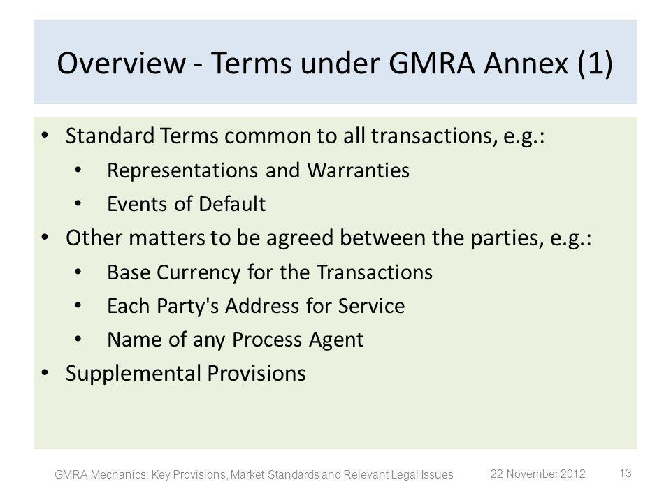 Overview - Terms under GMRA Annex (1) Standard Terms common to all transactions, e.g.: Representations and Warranties Events of Default Other matters
