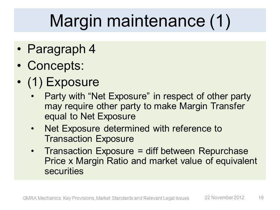 Margin maintenance (1) Paragraph 4 Concepts: (1) Exposure Party with Net Exposure in respect of other party may require other party to make Margin Tra