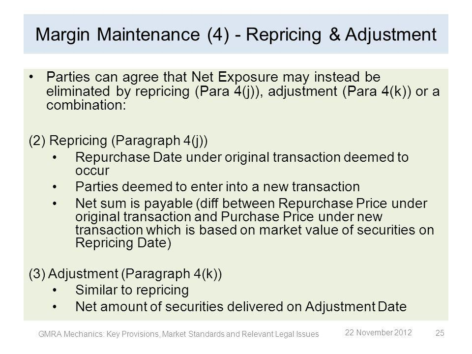 Margin Maintenance (4) - Repricing & Adjustment Parties can agree that Net Exposure may instead be eliminated by repricing (Para 4(j)), adjustment (Pa