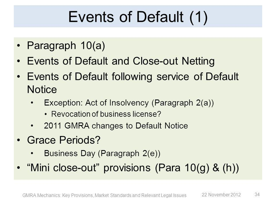 Events of Default (1) Paragraph 10(a) Events of Default and Close-out Netting Events of Default following service of Default Notice Exception: Act of