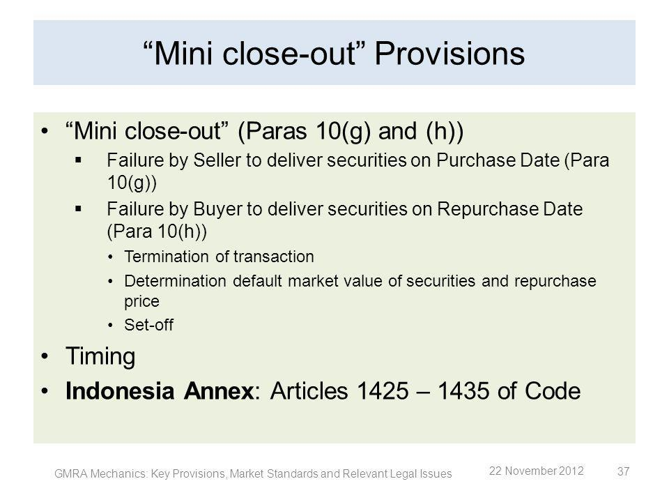 Mini close-out Provisions Mini close-out (Paras 10(g) and (h)) Failure by Seller to deliver securities on Purchase Date (Para 10(g)) Failure by Buyer