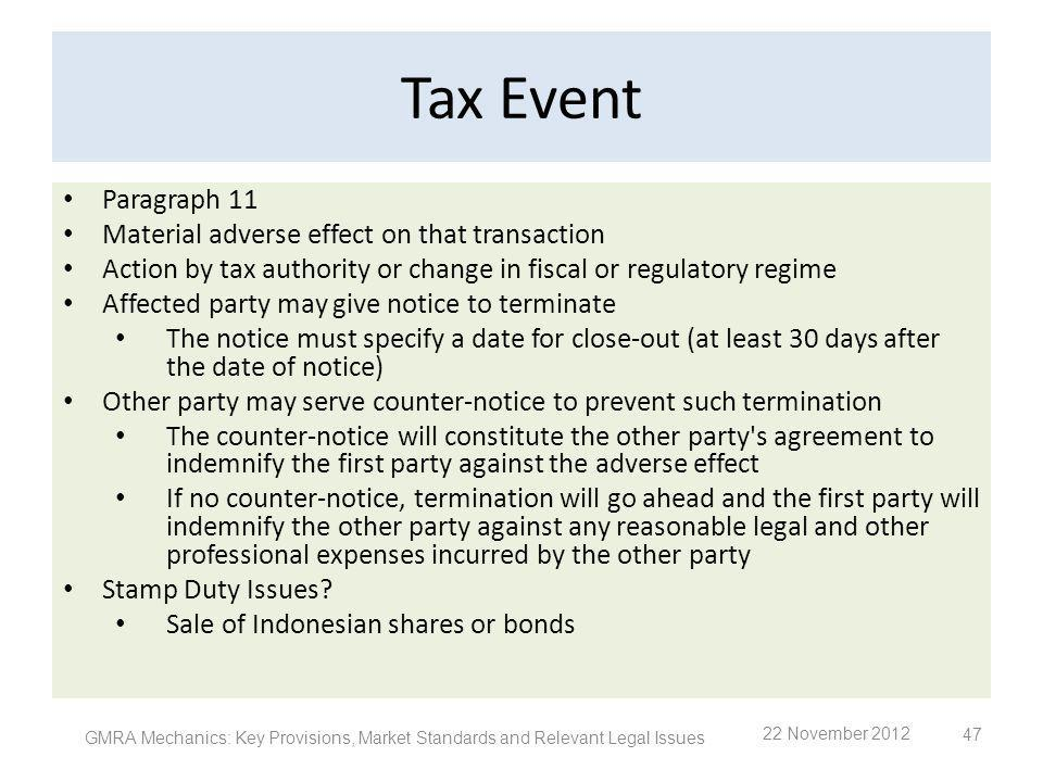 Tax Event Paragraph 11 Material adverse effect on that transaction Action by tax authority or change in fiscal or regulatory regime Affected party may