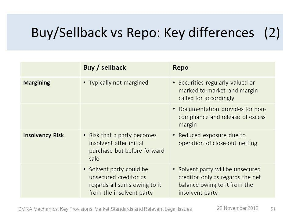 Buy/Sell back vs Repo: Key differences GMRA Mechanics: Key Provisions, Market Standards and Relevant Legal Issues 51 Buy/Sellback vs Repo: Key differe