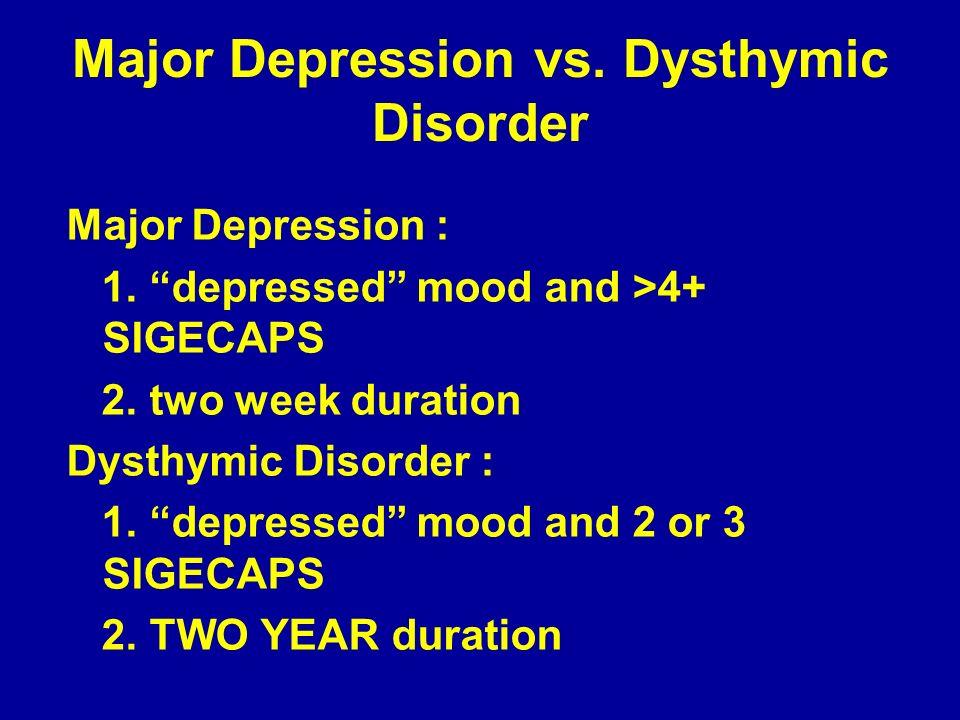 Major Depression vs. Dysthymic Disorder Major Depression : 1. depressed mood and >4+ SIGECAPS 2. two week duration Dysthymic Disorder : 1. depressed m