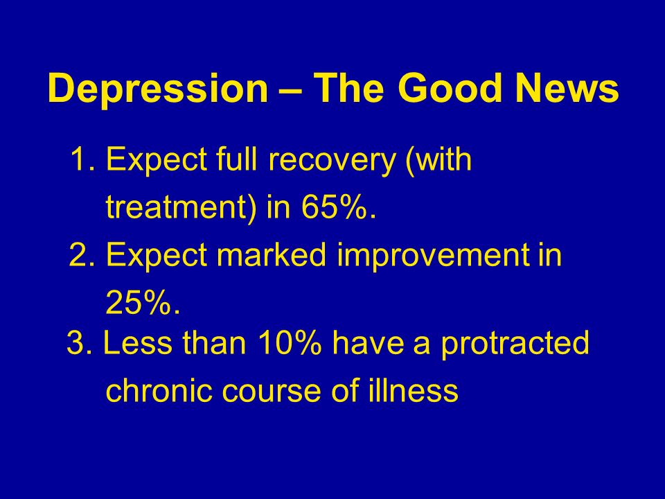 Depression – The Good News 1. Expect full recovery (with treatment) in 65%. 2. Expect marked improvement in 25%. 3. Less than 10% have a protracted ch