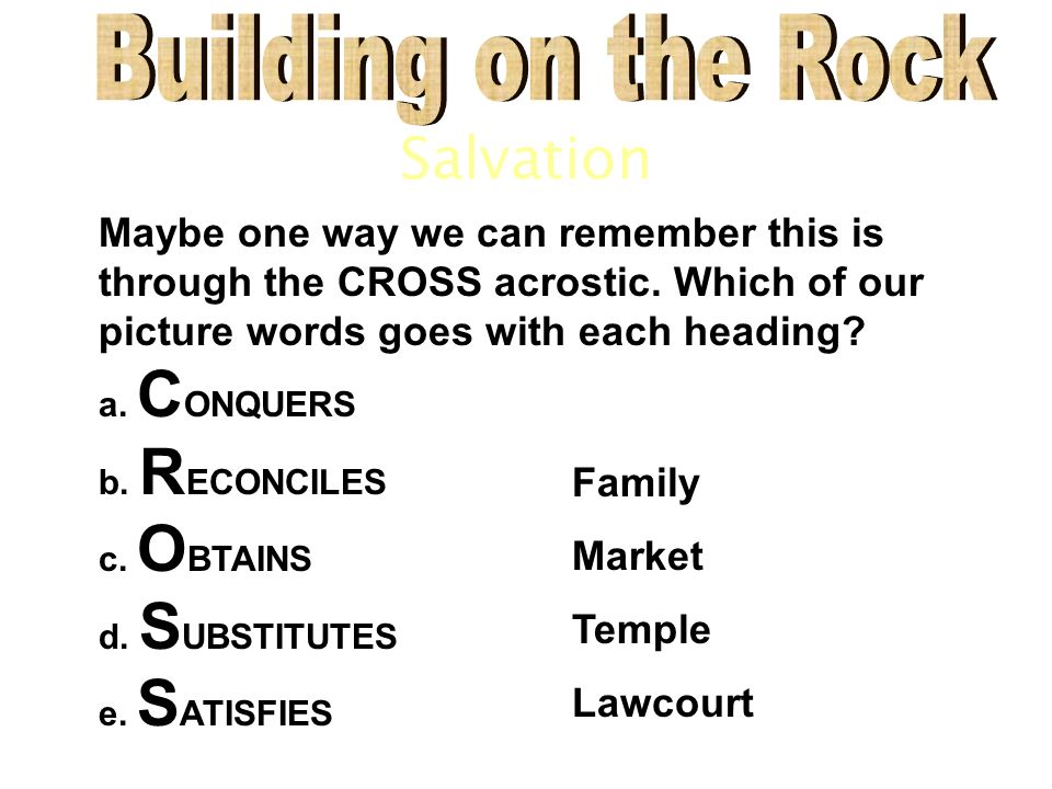 Salvation Maybe one way we can remember this is through the CROSS acrostic.