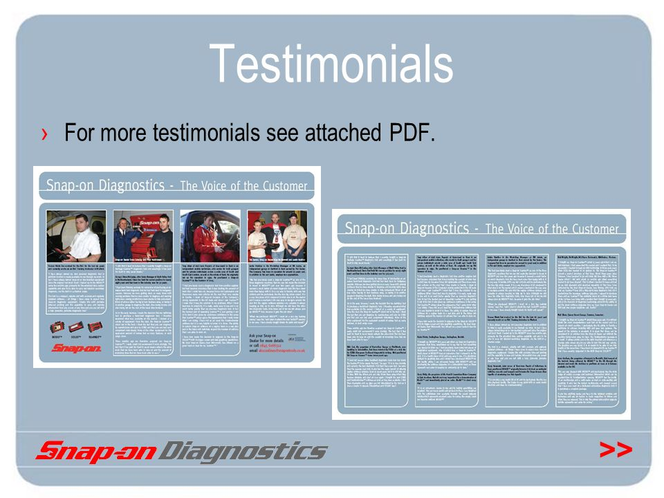 >> Testimonials For more testimonials see attached PDF.