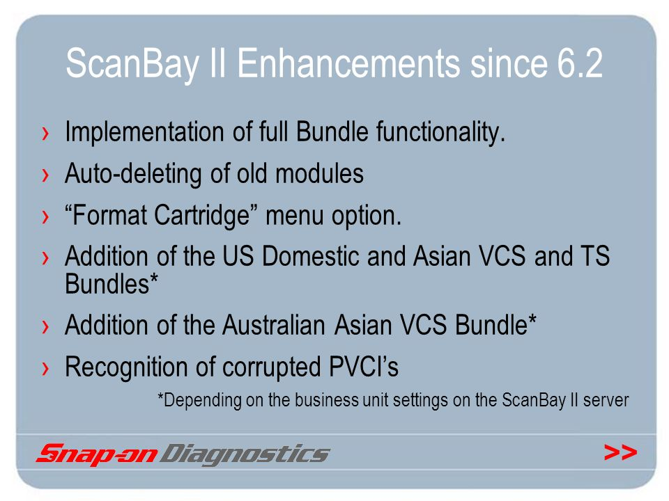 >> ScanBay II Enhancements since 6.2 Implementation of full Bundle functionality. Auto-deleting of old modules Format Cartridge menu option. Addition