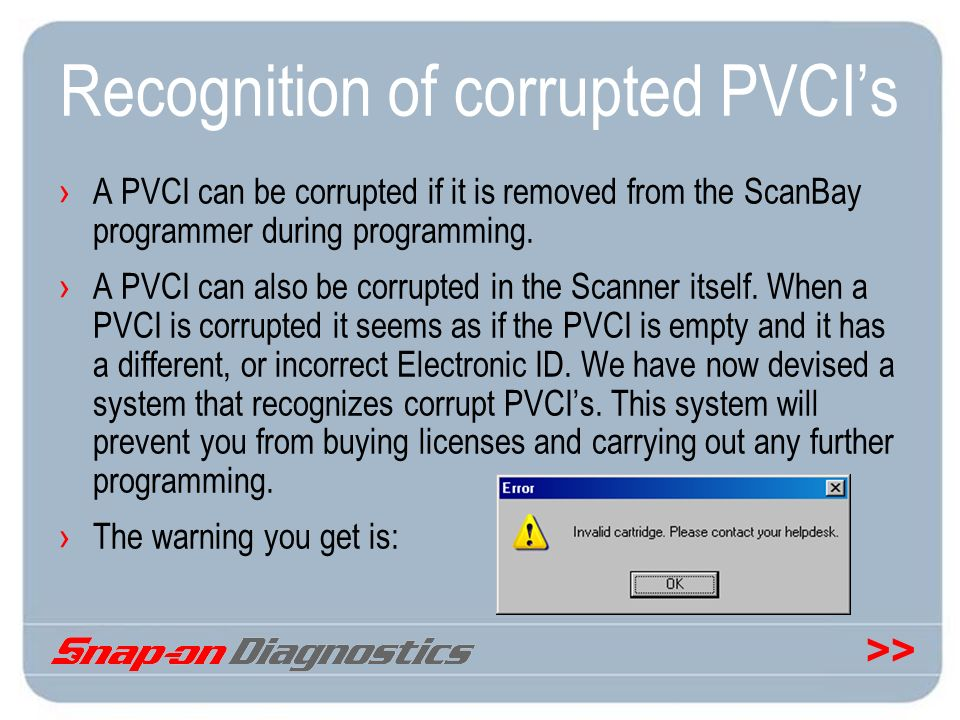 >> Recognition of corrupted PVCIs A PVCI can be corrupted if it is removed from the ScanBay programmer during programming. A PVCI can also be corrupte