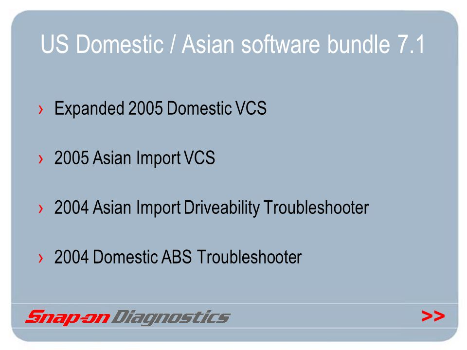 >> US Domestic / Asian software bundle 7.1 Expanded 2005 Domestic VCS 2005 Asian Import VCS 2004 Asian Import Driveability Troubleshooter 2004 Domesti