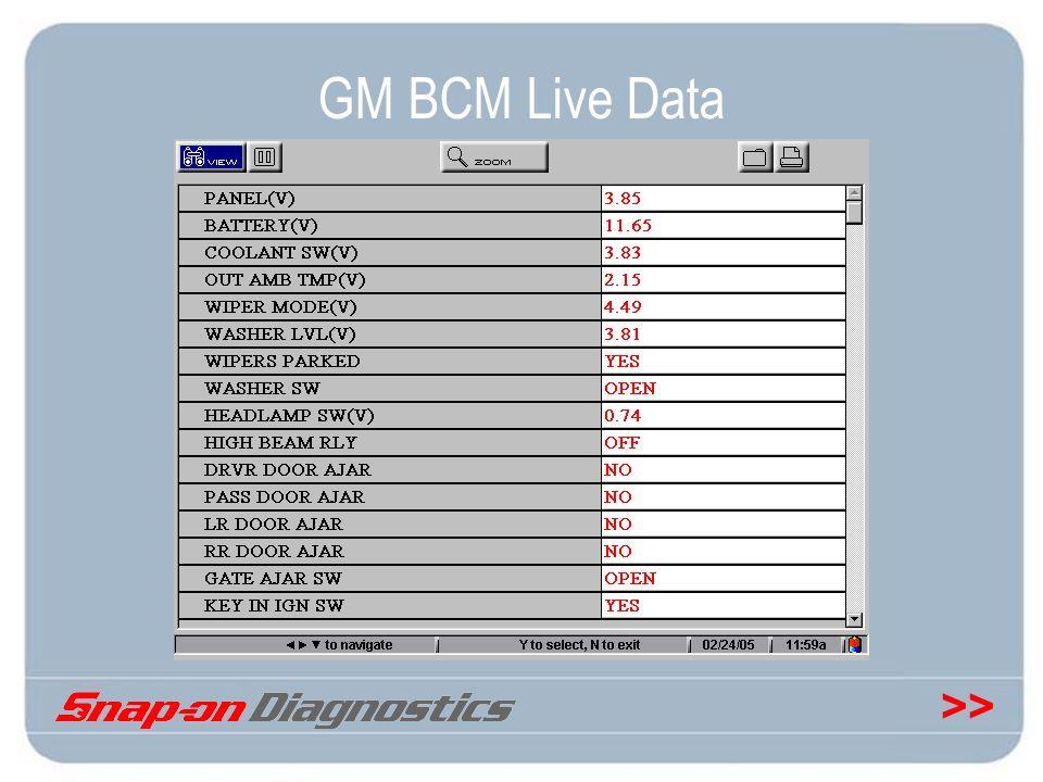 >> GM BCM Live Data