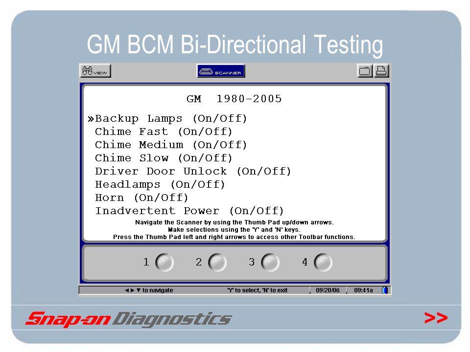 >> GM BCM Bi-Directional Testing