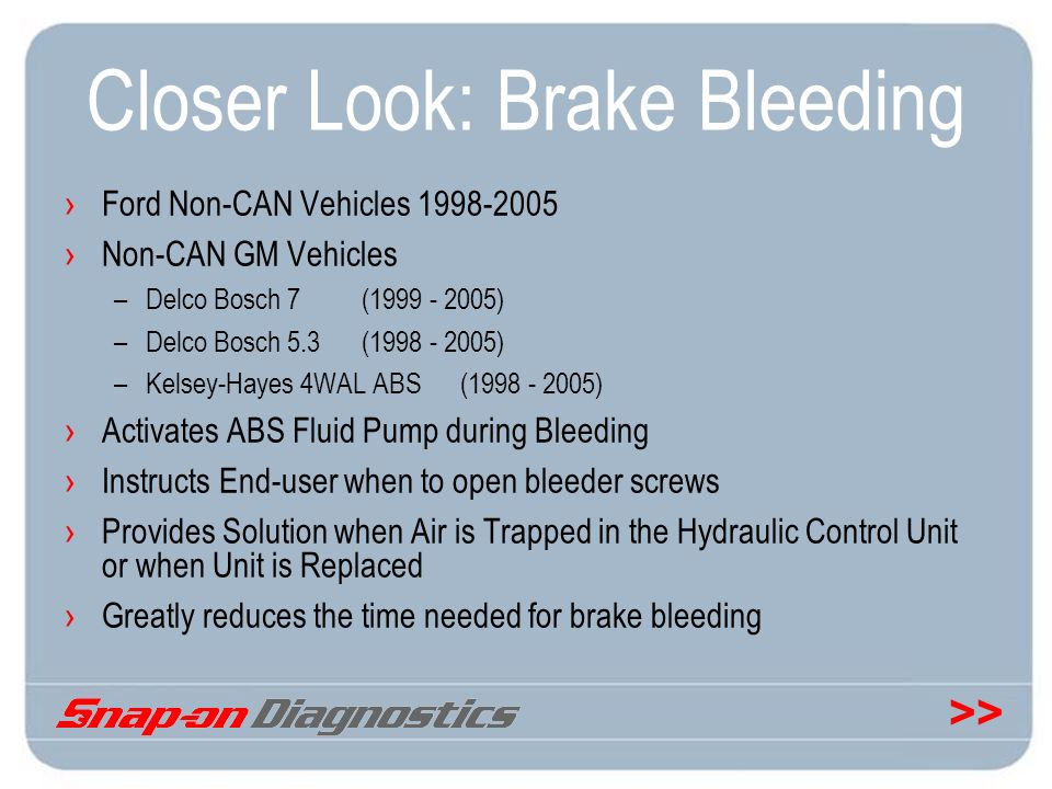 >> Closer Look: Brake Bleeding Ford Non-CAN Vehicles 1998-2005 Non-CAN GM Vehicles –Delco Bosch 7(1999 - 2005) –Delco Bosch 5.3 (1998 - 2005) –Kelsey-