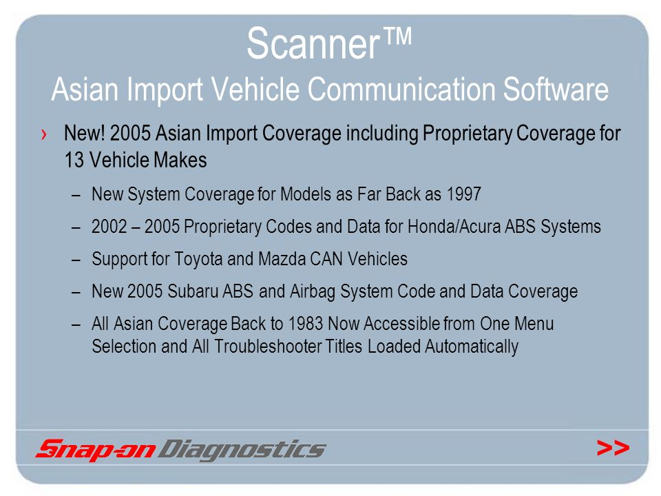 >> Scanner Asian Import Vehicle Communication Software New! 2005 Asian Import Coverage including Proprietary Coverage for 13 Vehicle Makes –New System