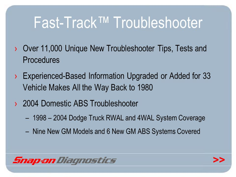 >> Fast-Track Troubleshooter Over 11,000 Unique New Troubleshooter Tips, Tests and Procedures Experienced-Based Information Upgraded or Added for 33 V