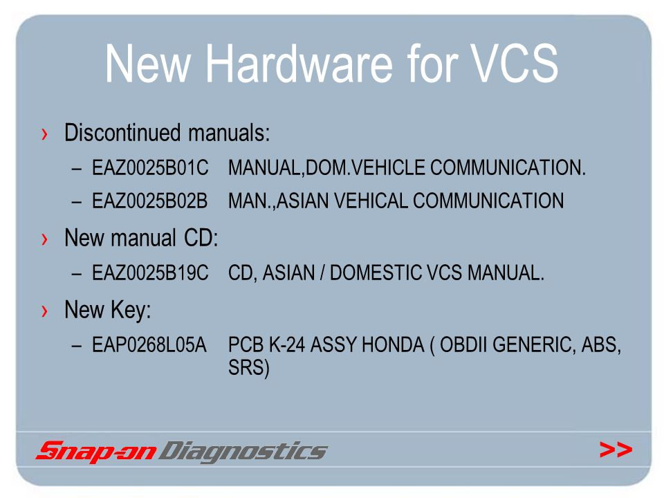 >> New Hardware for VCS Discontinued manuals: –EAZ0025B01CMANUAL,DOM.VEHICLE COMMUNICATION. –EAZ0025B02BMAN.,ASIAN VEHICAL COMMUNICATION New manual CD
