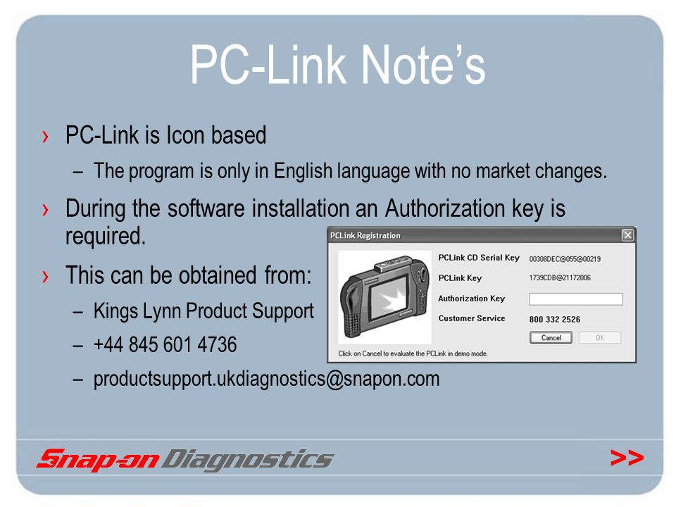 >> PC-Link Notes PC-Link is Icon based –The program is only in English language with no market changes. During the software installation an Authorizat
