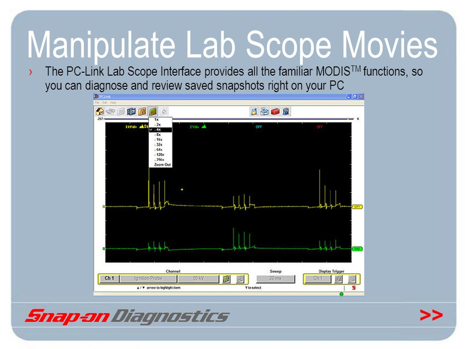 >> Manipulate Lab Scope Movies The PC-Link Lab Scope Interface provides all the familiar MODIS TM functions, so you can diagnose and review saved snap